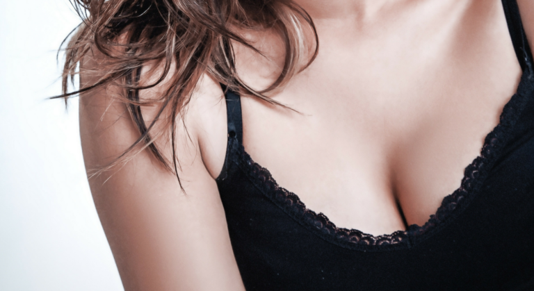 woman in cute top showing cleavage