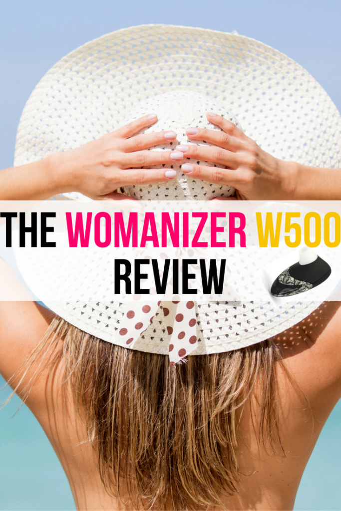 woman in big hat with text saying womanizer review