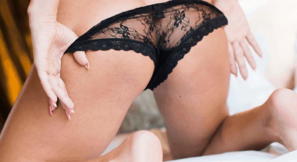 woman in black sheer panties