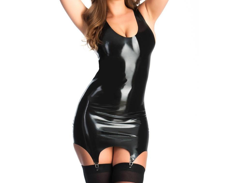 Black latex mini dress on curvy model