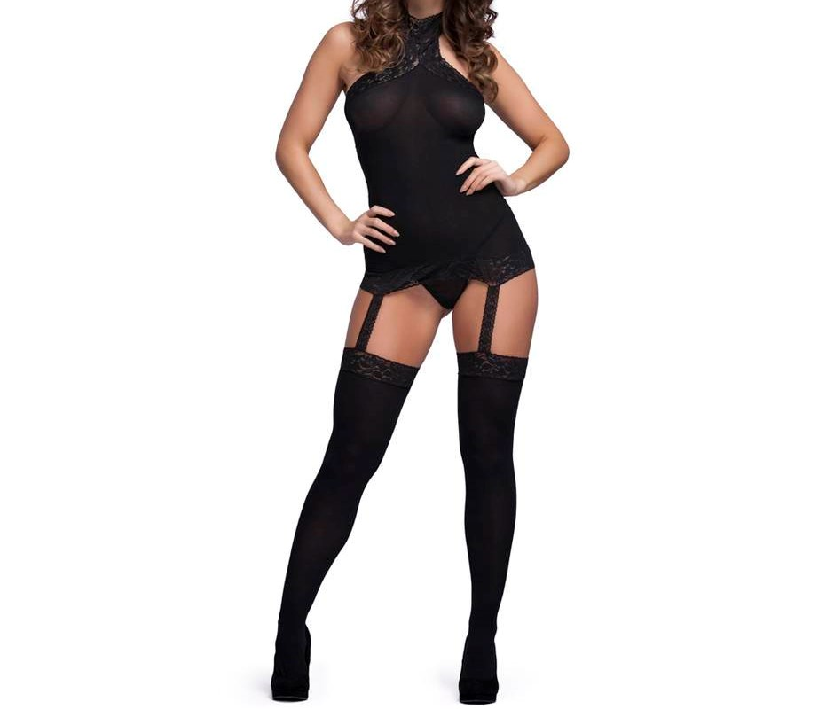 black bodystocking lingerie