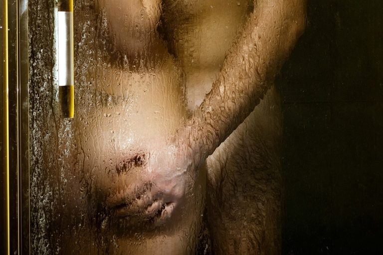 woman and man in shower